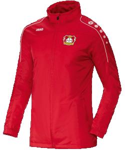 JAKO Bayer 04 Leverkusen BA7401F - Veste Pluie Rouge Toutes Saisons Homme Enfants Résistante Eau Plusieurs Tailles Poches Latérales Zippées Capuchon Intégré dans Col