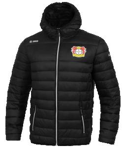 JAKO Bayer 04 Leverkusen BA7303 - Veste Matelassée Homme Enfant en Noir Rembourrage Thermo-Isolant Capuchon Poches Latérales Zippées