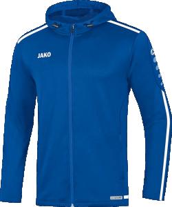 JAKO 6819 Striker 2.0 - Veste à Capuchon Hommes Enfants Plusieurs Couleurs Tailles Poches Latérales Zippées Rayures Contrastantes Curseur Bicolore