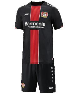 JAKO Bayer 04 Leverkusen BA4518H - Ensemble Bébé Short et Maillot CM Domicile 2018-2019 Col Rond Plusieurs Tailles Couleur Noir Logo Imprimé