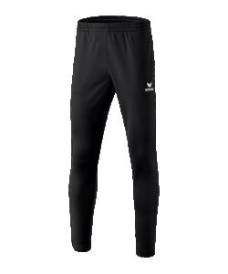 ERIMA 3100706 - Pantalon Entraînement Polyester Noir avec Empiècements aux Mollets Homme Enfants Plusieurs Tailles Bas Zippé Coupe Étroite Poches Latérales
