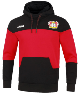 JAKO Bayer 04 Leverkusen BA6707 - Hooded Sweat Premium Men Kids Sewn Pocket Several Sizes Color Back Red Ripp Trim Edge at Sleeves and Waist