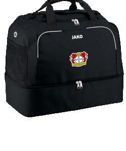 JAKO Bayer 04 Leverkusen BA2050 - Sac de Sports Classico Noir Pochette avec Fermeture Éclair Plusieurs Tailles Rangement Chaussures Bandoulière Amovible