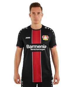 JAKO Bayer 04 Leverkusen BA4218H - Maillot Manches Courtes Domicile 2018-2019 Homme Enfants Col Rond Plusieurs Tailles Couleur Noir Logo Imprimé